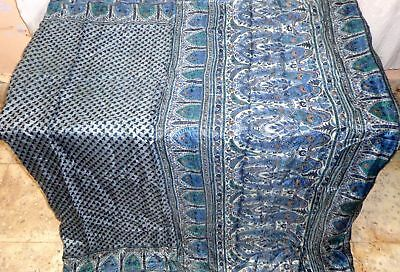 AU Pure silk Vintage Sari Saree Fabric SCRAP 4y Cu 1461 Ab Grey ITALY #ABCOT