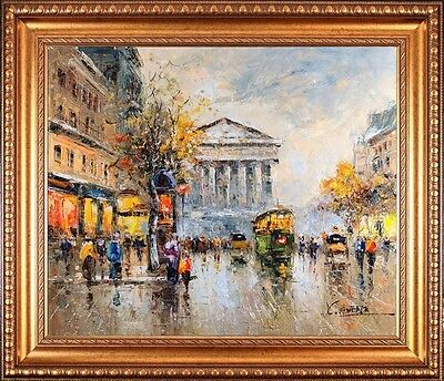 """Signed Сristof Vevers Framed Impressionist """"Paris City"""" Oil Painting On Canvas"""