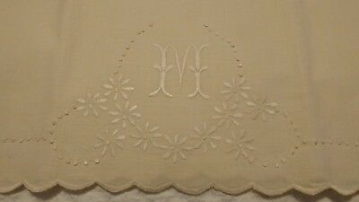 Vintage 100% Linen Embroidered Pillowcases King Size