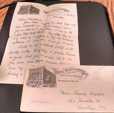 1919 Hotel Petersburg (Va) Four Page Letter with Cover / Letterhead