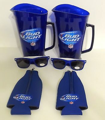 Set of 2 NFL BUD LIGHT PITCHERS Blue 60 oz Plastic, 2 Sunglasses, 2 Coozies NEW