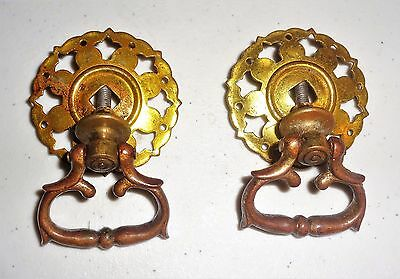 Two Antique Brass Victorian Dangle Drawer Pulls Knobs