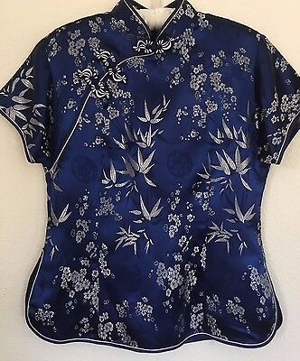 Women's Blue Satin Silver Asian Fitted Top Mandarin Collar Braid Frogs