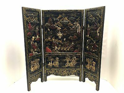 Antique Chinese Table Top Screen C.1890 Raised Jewel Design Gold Accents