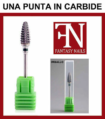 Punta fresa CARBIDE forma OGIVA in Carburo di Tungsteno unghie gel uv acrilico