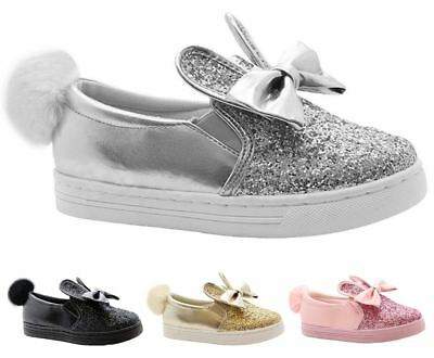 New Kids Girls Bunny Rabbit Ears Sparkle Pom Pom Slip On Bow Detail Shoes