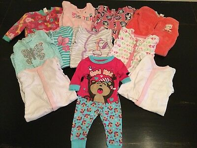 Large Lot Baby Girl Footed Pajamas 6-12 Months EUC 11 Pairs
