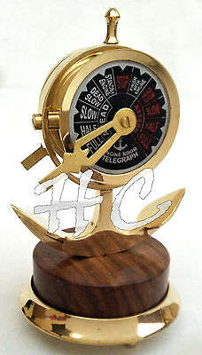 Nautical Wood & Brass Anchor Telegraph Decorative Antique Ship Engine Room