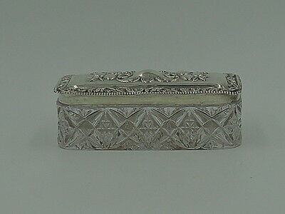 Antique English Sterling Silver Repousse Lid & Star Cut Glass Vanity Jar Box 191