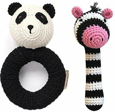 Organic Bamboo Crocheted Black and White Sensory Animal Baby Rattles