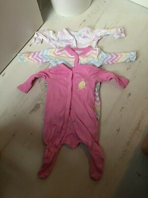 Mothercare Baby Girl Sleepsuits Pack Of 3 0-1