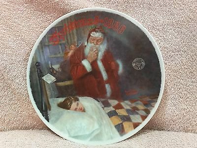 "Knowles Norman Rockwell 1986 Collectors Plate ""Deer Santy Claus"" Christmas Santa"