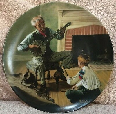 "Knowles Norman Rockwell 1989 Collector Plate ""The Banjo Player"" Limited Edition"