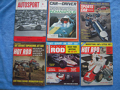 Vintage Car Racing Magazines Lot (12) Indy 500 Road Track Speed Age Hot Rod Old