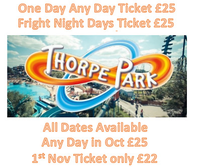 Thorpe Park up to 53% off Discount One Day Ticket £22 or £25 For Fright Night
