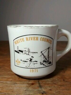 Vintage Boy Scouts BSA White River Council Indiana Coffee Mug Cup 1971