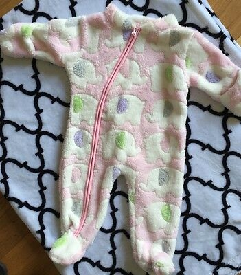Baby Girls Nursery Time Fleeced All In One 0-3m Pink Zipper Brand New
