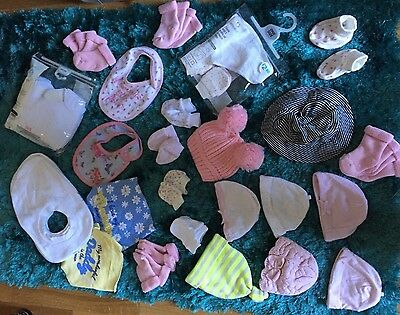 Huge 42 Piece Baby Girl Accessories Bundle 0-1m, 0-3m Bibs Hats Mittens Socks
