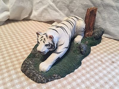 White Siberian Tiger Figurine Nature Scene Hunting Prowling Tiger 9.5in