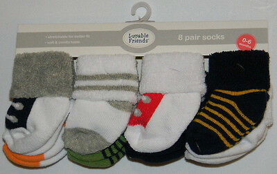 New Luvable Friends Multi-Color Shoes Stripes Sz 0-6 Mos 8 Pairs Baby Boy Socks