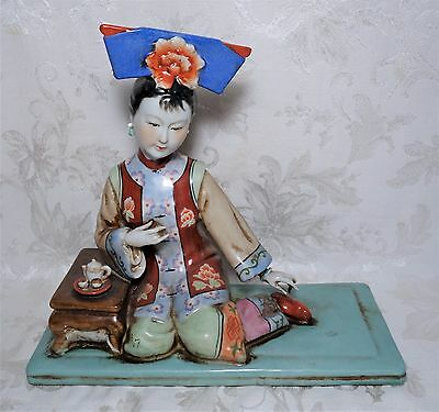 Antique Chinese Porcelain Statue Seated Beautiful Woman w Tea Set Statue