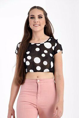 Wholesale Joblot Womens Ladies New Pack Of 6 Casual Polka Dot Short Crop Top