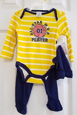 NEW Infant Boys Swiggles 3 Pc Outfit Bodysuit, Pants & Hat Size 0-3 Months