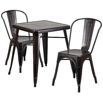 23.75'' Square Black-Antique Gold Metal Table Set with 2 Stack Chairs