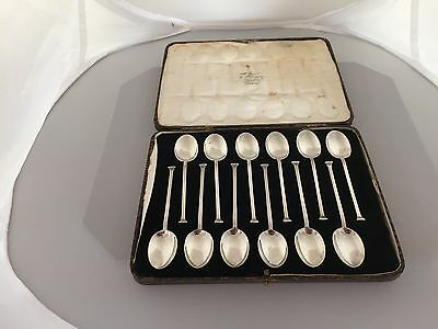 Lovely Brown Cased Set Of 12 Hammerhead Solid Silver Coffee Spoons  (C B & S)