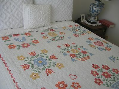 Vintage Cross Stitch Embroidered Quilt, 87X97, Crispy Clean&all Cotton
