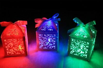 Glowing Wedding Table Decorations - Super Bright LED light in laser cut box