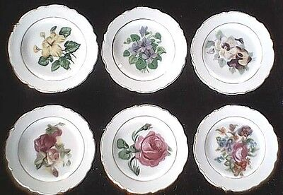 "Butter Pat Plates Six (6) 3 1/2"" Floral Painted Made In Japan Vintage"