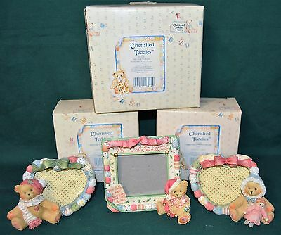 3 Cherished Teddies Christmas Photo Frames - With Original Box's