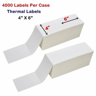 """4000 Fanfold 4"""" x 6"""" Direct Thermal Shipping / Barcode Labels - Zebra 2844 USPS"""