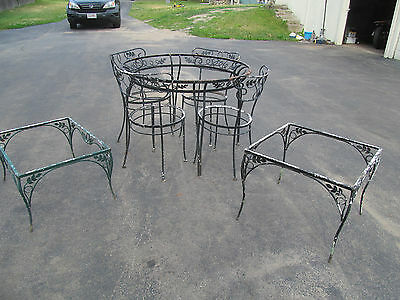 Vintage Wrought Iron patio furniture table chairs