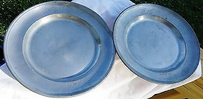 A Pair Of 19Th C Pewter Charger Inscribed Em 1835- 1838  Makers Mark On Front