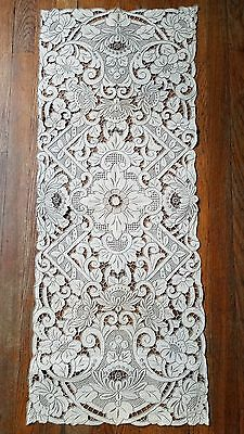 Antique Linen Cutwork Madiera Lace Runner Doiley Tablecloth Estate Great Cond!