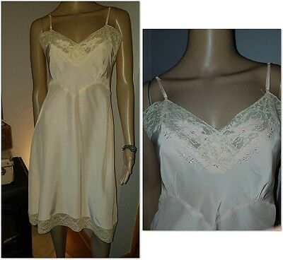 Vtg 30s 40s Pink Peach Beige Lace Silky Rayon Full Slip Dress Chemise USA 34 S
