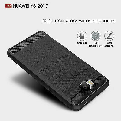 Newest For Huawei Y5 / Y6 2017 Brushed Silicone Soft Rubber Slim Back Case Cover