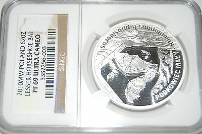2010 Poland LESSER HORSESHOE BAT S20Z NGC PF69 silver proof coin