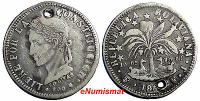 Bolivia Silver 1860 FJ  4 Soles One Year Type VF Condition Holed SCARCE KM# 139
