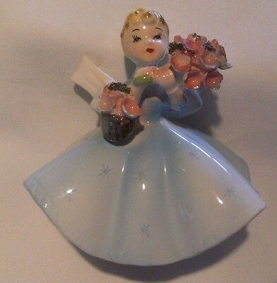 Rare Lefton Girl with Flowers figurine w basket of flowers