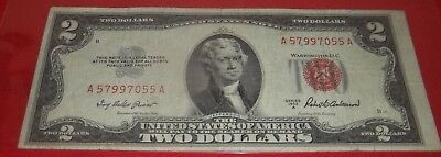 ONE (1) nice 1953 $2.00 UNITED STATES NOTE - RED SEAL circulated