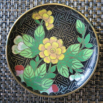 Enamel / Brass Dish Plate Cloisonne Hand Painted Round Vintage Bright Colors #E2