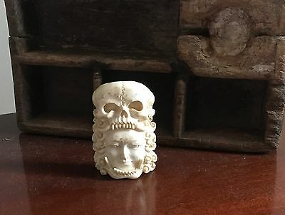 Antique Old 20th Century BONE CARVING Head Tribal HUMAN SKULL Mask Sculpture