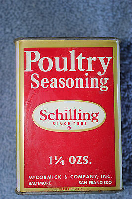 Vintage Tin Can Schilling Poultry Seasoning  Large