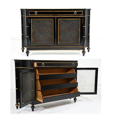 Pair of Hollywood Regency-style Chest of Drawers Beautiful Deep Black Finish