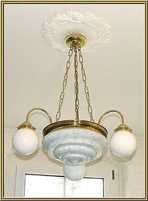 ART DECO antike Decken Lampe 3arm 4fl. MESSING ORIGINAL