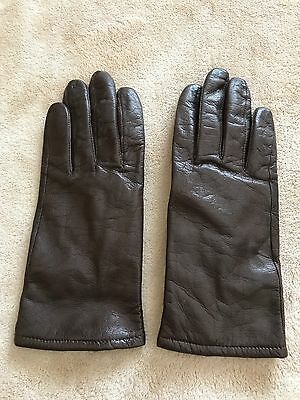 Brown Leather Ladies Gloves - Size 8