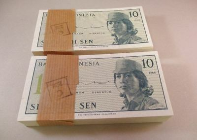 200 Indonesian 10 Sen Bank Notes Foreign Currency Uncirculated